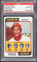 Baseball Cards:Singles (1970-Now), 1974 Topps Astros Mgr./Coaches #31 PSA Gem Mint 10 - Pop Two....