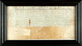 Autographs:Non-American, Framed Vellum Captain's Commission in the Reign of James I. DatedOctober 12, 1604. ...