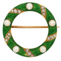 Estate Jewelry:Brooches - Pins, Diamond, Pearl, Enamel, Gold Brooch, early 20th Century. ...
