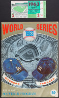 Baseball Collectibles:Tickets, 1963 World Series Game 3 Program and Ticket Stub - Drysdale ShutsOut Yankees....