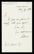 Autographs:Non-American, Roundell Palmer (First Earl of Selborne) Autograph Letter Signed.Dated February 19, 1886. ...