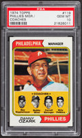 Baseball Cards:Singles (1970-Now), 1974 Topps Phillies Mgr./Coaches #119 PSA Gem Mint 10 - Pop Two....