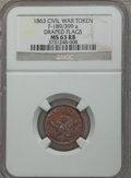 Civil War Patriotics, 1863 Draped Flags MS63 Red and Brown NGC. Fuld-189/399a....