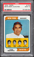 Baseball Cards:Singles (1970-Now), 1974 Topps Mets Mgr./Coaches #179 PSA Mint 9....