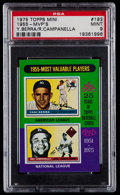 Baseball Cards:Singles (1970-Now), 1975 Topps Mini 1955-MVP's Berra/Campanella #193 PSA Mint 9....