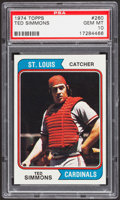 Baseball Cards:Singles (1970-Now), 1974 Topps Ted Simmons #260 PSA Gem Mint 10 - Pop Two....