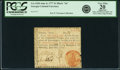 "Colonial Notes:Georgia, Georgia June 8, 1777 $1 Black ""In"" Fr. GA-103b. PCGS Very Fine 20Apparent.. ..."