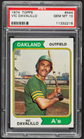 Baseball Cards:Singles (1970-Now), 1974 Topps Vic Davalillo #444 PSA Gem Mint 10 - Pop Four....