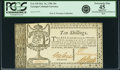 Colonial Notes:Georgia, State of Georgia Oct. 16, 1786 10 Shillings Fr. GA-130. PCGSExtremely Fine 45 Apparent.. ...
