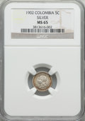 Colombia, Colombia: Republic 5 Centavos 1902 MS65 NGC,...