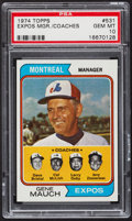 Baseball Cards:Singles (1970-Now), 1974 Topps Expos Mgr./Coaches #531 PSA Gem Mint 10....