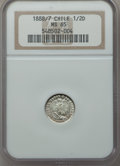 Chile, Chile: Republic 1/2 Decimo 1888/7-So MS65 NGC,...