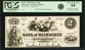 Obsoletes By State:Wisconsin, Milwaukee, WI - Bank of Milwaukee (2nd) $2 Jan. 2, 1855 WI-500 G4. Proof. Very Choice New 64.. ...
