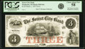 Obsoletes By State:Wisconsin, Waukesha, WI - Forest City Bank $3 March 1, 1857 WI-830 G6a. Proof. PCGS Choice About New 58.. ...