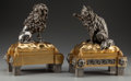 Decorative Arts, French:Other , A Pair of Gilt and Silvered Bronze Figural Chenets, after JeanJacques Caffieri, late 19th century. 14 inches high x 11-...(Total: 2 Items)