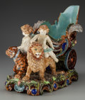 Ceramics & Porcelain, A French Majolica Figural Jardinière, 19th century. Marks: (four leaf clover), 1115. 13 inches high x 19-1/2 inches wide...