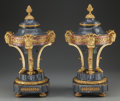 Decorative Arts, French, A Pair of Empire-Style Gilt Bronze Mounted Marble Urns, 19thcentury. 20-3/4 inches high (52.7 cm). ... (Total: 4 Items)