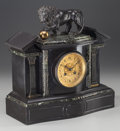 Clocks & Mechanical:Clocks, An American Neoclassical Slate, Marble, Gilt and Patinated Bronze Mantle Clock with Lion Finial, circa 1865. 14-1/2 inches h...