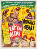 """Movie Posters:Documentary, Eat 'Em Alive/Virgins of Bali Combo (Principle Pictures, R-1940s). Two Sheet (41"""" X 54""""). Documentary.. ..."""