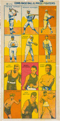 "Baseball Cards:Sets, C. 1920 W529-8 I. F. S. ""Comb. Base Ball & Prize Fighters Uncut sheet With Ruth & Johnson. ..."