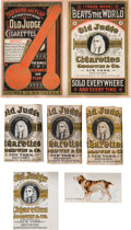 """Baseball Cards:Unopened Packs/Display Boxes, 1880's Goodwin & Co. """"Old Judge Cigarettes"""" Packs, Promos andN163 Card (6 Items) - With Two N172 Era Packs. ..."""
