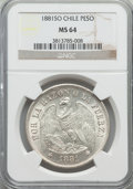 Chile, Chile: Republic Peso 1881-So MS64 NGC,...