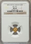 California Fractional Gold: , 1872 25C Indian Octagonal 25 Cents, BG-791, R.3, MS65 NGC. NGCCensus: (14/4). PCGS Population (15/4). ...