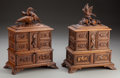 Decorative Arts, Continental:Other , A Pair of Black Forest Carved Jewelry Boxes With Bird Finials, late19th century. 12 inches high x 9-1/2 inches wide x 5 inc... (Total:2 Items)