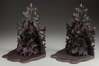 A PAIR OF BLACK FOREST CARVED WALL BRACKETS WITH EDELWEISS & OAK LEAVES, circa 1865 14-1/2 inches high x 11 inch...