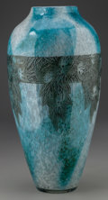 Art Glass:Legras, A Legras Engraved and Enameled Mottled Glass Vase, Saint-Denis,France, circa 1920. Marks: Legras. 14 inches high (35.6 ...