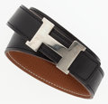 """Luxury Accessories:Accessories, Hermes 80cm Black Calf Box & Gold Clemence Leather Reversible H Belt with Palladium Hardware. Good Condition. 1"""" Width..."""