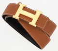 """Luxury Accessories:Accessories, Hermes 70cm Black Calf Box & Gold Clemence Leather Reversible H Belt with Gold Hardware. Excellent Condition. 1"""" Width..."""