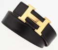 "Luxury Accessories:Accessories, Hermes 65cm Black Calf Box & Gold Courchevel Leather Reversible H Belt with Gold Hardware. Excellent Condition. 1"" Wid..."