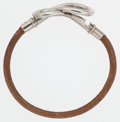 "Luxury Accessories:Accessories, Hermes Natural Bridle Leather Atame Bracelet with PalladiumHardware. Good to Very Good Condition. 8"" Length. ..."