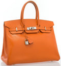 "Luxury Accessories:Bags, Hermes 35cm Orange H Calf Box Leather Birkin Bag with PalladiumHardware. Good Condition. 14"" Width x 10"" Height x 7""..."