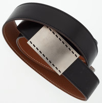 Hermes 110cm Black Calf Box & Gold Clemence Leather Reversible Sellier Belt with Palladium Hardware Excellent C