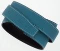 "Luxury Accessories:Accessories, Hermes 110cm Blue Jean Clemence & Black Calf Box LeatherReversible Belt Strap. Excellent Condition. 1"" Width x43"" Le..."