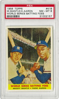 Baseball Cards:Singles (1950-1959), 1958 Topps Mickey Mantle/Hank Aaron World Series Batting Foes #418PSA NM-MT 8. The two best batsmen for each team in the 19...