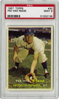 Baseball Cards:Singles (1950-1959), 1957 Topps Pee Wee Reese #30 PSA Mint 9. This fine example captures this Hall of Fame shortstop in his final season at Ebbe...
