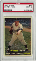 Baseball Cards:Singles (1950-1959), 1957 Topps Whitey Ford #25 PSA Mint 9. This Baseball Hall of Famer dazzled all opponents and cemented himself as the Yankee...