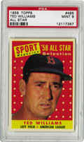 Baseball Cards:Singles (1950-1959), 1958 Topps Ted Williams All-Star #485 PSA Mint 9. Outspoken,immensely talented, patriotic, iconoclastic, demanding, larger...