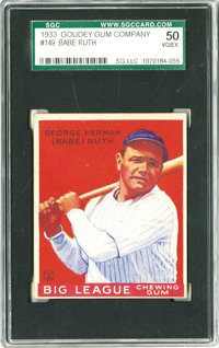 1933 Goudey Babe Ruth #149 SGC 50 VG/EX 4. The first line of his cardback biography summarizes the legendary ballplayer'...