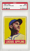 Baseball Cards:Singles (1940-1949), 1948-49 Leaf Lucius Appling #59 PSA NM-MT 8. Seldom seen in highgrade, the offered card has great color and nice focus for...