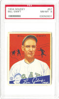 Baseball Cards:Singles (1930-1939), 1934 Goudey Bill Swift #57 PSA NM-MT 8. A sidearming fastballpitcher, Swift was successful his first five seasons with the...