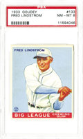 Baseball Cards:Singles (1930-1939), 1933 Goudey Fred Lindstrom #133 PSA NM-MT 8. If only a brisk windcould re-center this card to the east it would easily gra...