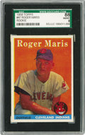 Baseball Cards:Singles (1950-1959), 1958 Topps Roger Maris #47 SGC 88 NM/MT 8. In less than two yearsthis mild mannered, hard-working rookie would transform h...