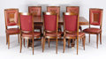 Furniture : French, A French Art Deco Mahogany, Satinwood, Birch, Maple, Brass andMother-of-Pearl Inlaid Dining Room Suite. . Jules Leleu, Fren...(Total: 11 Items)