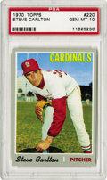 Baseball Cards:Singles (1970-Now), 1970 Topps Steve Carlton #220 PSA Gem Mint 10. Perfect in everyway: Centering and coloring framed with razor sharp corners...