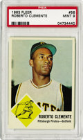 Baseball Cards:Singles (1960-1969), 1963 Fleer Roberto Clemente #56 PSA Mint 9. Close to pack-freshcard pictures the heroic Hall of Fame Pirate. The slightest...