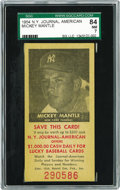 Baseball Cards:Singles (1950-1959), 1954 N.Y. Journal American Mickey Mantle SGC 84 NM 7. Scarce issuewas originally distributed from newstands hawking the no...